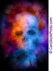 abstratos, cranio, fantasmagórico