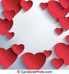 abstratos, Criativo, fundo, corações, elegante, vermelho,  3D