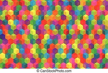 abstratos, cubes., fundo