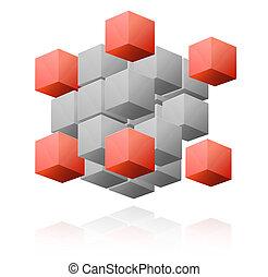 abstratos, cubo, ilustração
