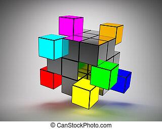 abstratos, cubos, estrutura