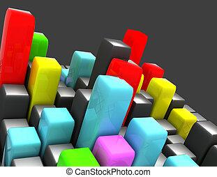 abstratos, cubos, experiência colorida, 3d