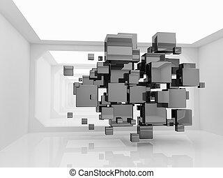 abstratos, cubos, sala, futurista