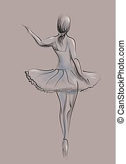 abstratos, dançarino, balé