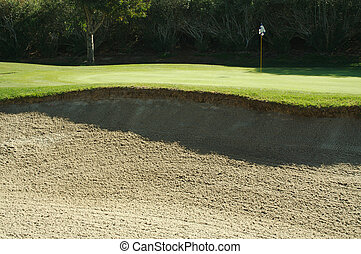 abstratos, de, campo golfe, bunkers