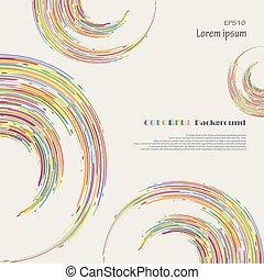abstratos, de, coloridos, listra, linhas, padrão, em, círculo, experiência.