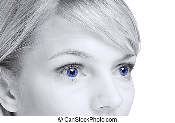 abstratos, de, loura, mulher, com, olhos azuis