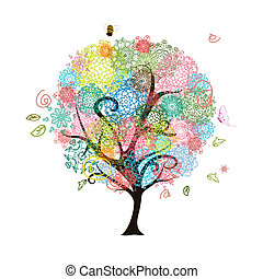 abstratos, decorativo, árvore