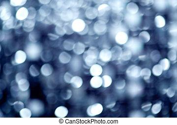 abstratos, defocused, borrão, azul, luzes natal