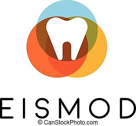 abstratos, dente, logotipo, design., dental, criativo, símbolo., universal, vetorial, icon.