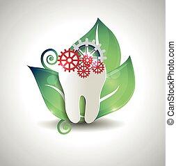 abstratos, dente, tratamento, conceito, desenho
