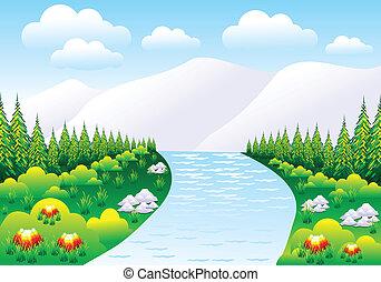 abstratos, detalhado, montanha, cena