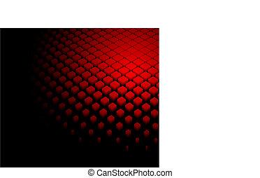 abstratos, dinâmico, experiência vermelha, 3d