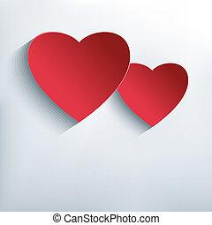 abstratos, dois, Criativo, fundo, corações, elegante, vermelho,  3D