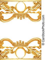 abstratos, dourado, borda