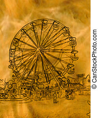 abstratos, dourado, roda ferris, ilustração