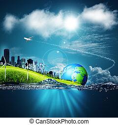 abstratos, ecossistema, fundos, sob, a, céus azuis, para, seu, desenho