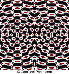abstratos, efeito, óptico, pretas, branco vermelho