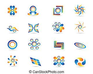 abstratos, elementos, desenho, coloridos