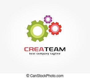abstratos, engrenagem, vetorial, logotipo, ícone, concept., logotype, modelo, para, marcar