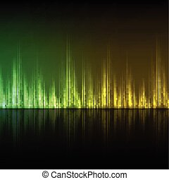 abstratos, equalizador, experiência., amarelo-verde, wave.