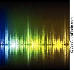 abstratos, equalizador, experiência., blue-green-yellow, wave.