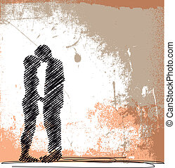 abstratos, esboço, de, par, kissing., vetorial, ilustração