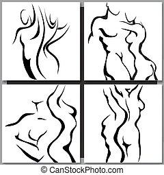 abstratos, esboço, de, par