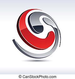 abstratos, espiral, icon., 3d