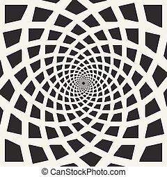 abstratos, espiral, vetorial, pretas, redemoinho, branca, retângulos, ilusão, óptico