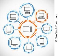 abstratos, esquema, rede computador