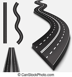 abstratos, estrada asfalto, isolado