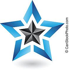 abstratos, estrela, coloridos, ícone