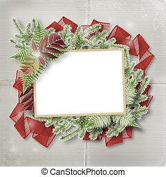 abstratos, estrela, fundo, com, papel, quadro, e, grupo, ramos, árvores natal