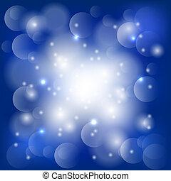 abstratos, experiência azul, com, luzes