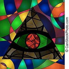 abstratos, experiência colorida, olho