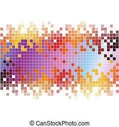 abstratos, experiência digital, com, coloridos, pixels