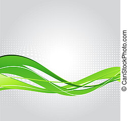 abstratos, experiência verde, onda