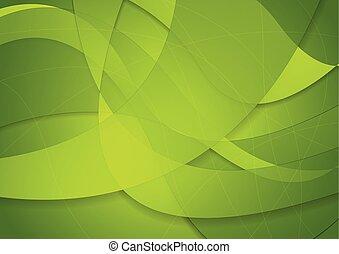abstratos, experiência verde, ondas