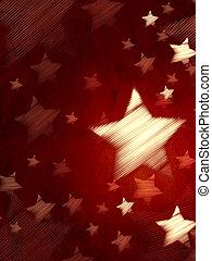 abstratos, experiência vermelha, com, listrado, estrelas,...