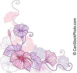 abstratos, experiência., vetorial, desenho, floral, elegante...