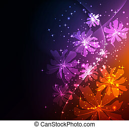 abstratos, fantasia, floral, fundo