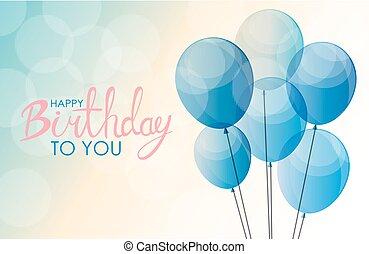 abstratos, feliz aniversário, balloon, fundo, cartão, modelo, vetorial, ilustração