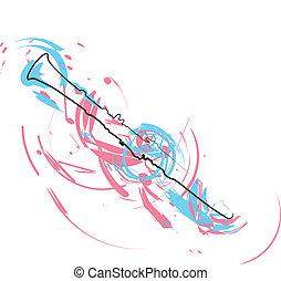 abstratos, flauta, ilustração