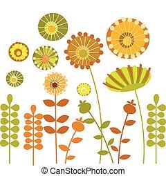 abstratos, flor, -1, jardim, coloridos
