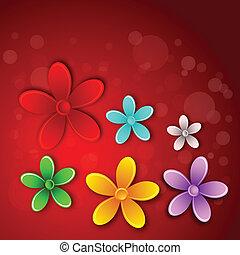 abstratos, flor, cartão, 3d