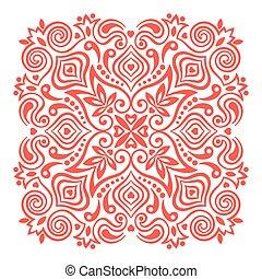 abstratos, flor, desenho, mandala., elemento