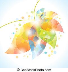 abstratos, flor, folha, coloridos