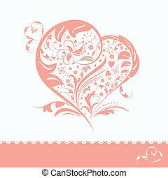 abstratos, flor, forma coração, convite, cartão