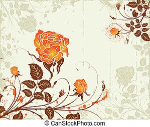 abstratos, flor, grunge, fundo